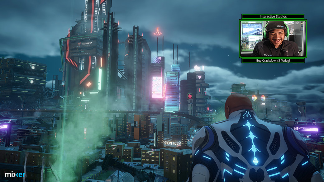 crackdown 3 character standing above freeway overlooking city
