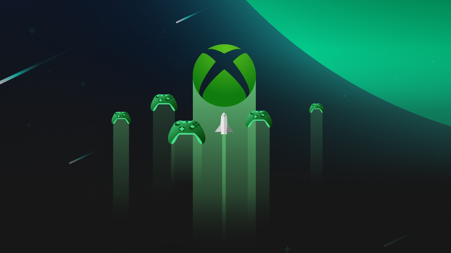 Illustration of green Xbox controllers flying through space towards a green planet