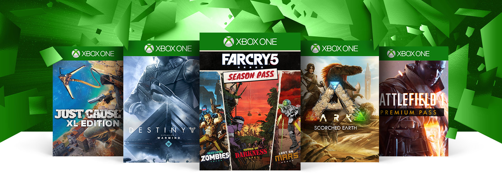 Just Cause 3 Destiny 2 Farcry Season Pass Ark Survival and Battlefield 1 boxshots
