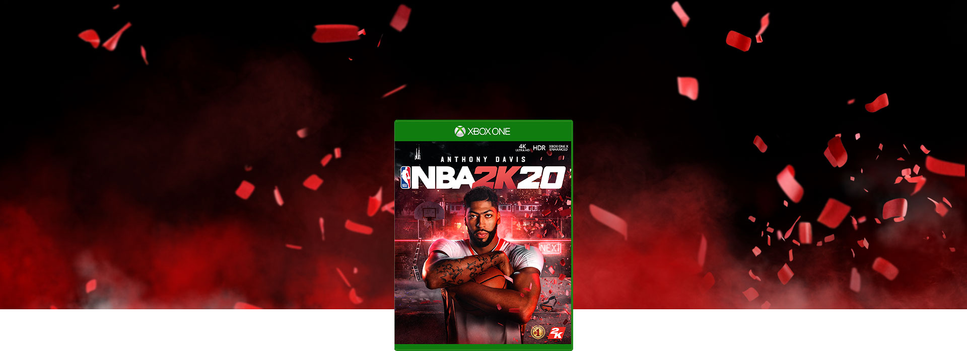 Boxshot of NBA 2K20, black background with red smoke coming up and red confetti