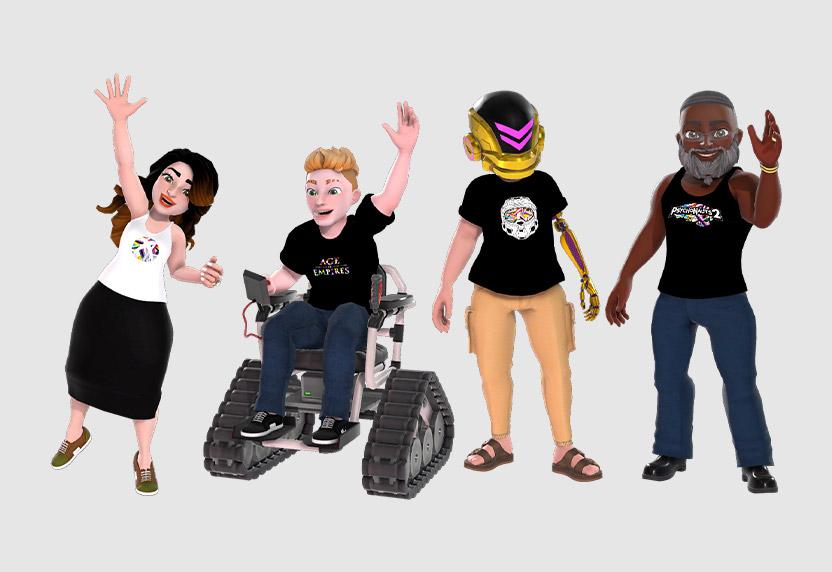 Four Xbox Avatars wearing Pride gear.