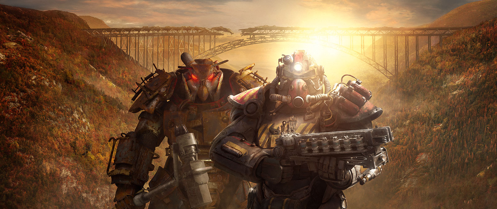 People in two sets of different Power Armor stand in front of dilapidated train tracks connecting two hills