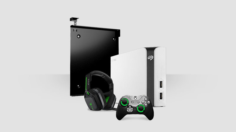 Xbox One S cover Segate hard drive Turtle beach headset and Xbox Elite Controller