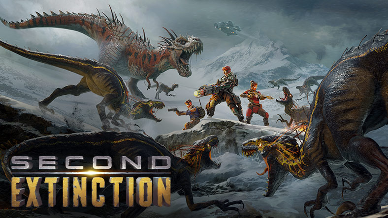 Second Extinction. A squad of three soldiers huddle together atop a snowy hill with guns ablaze, desperately trying to hold back a swarm of mutated dinosaurs approaching from all sides.
