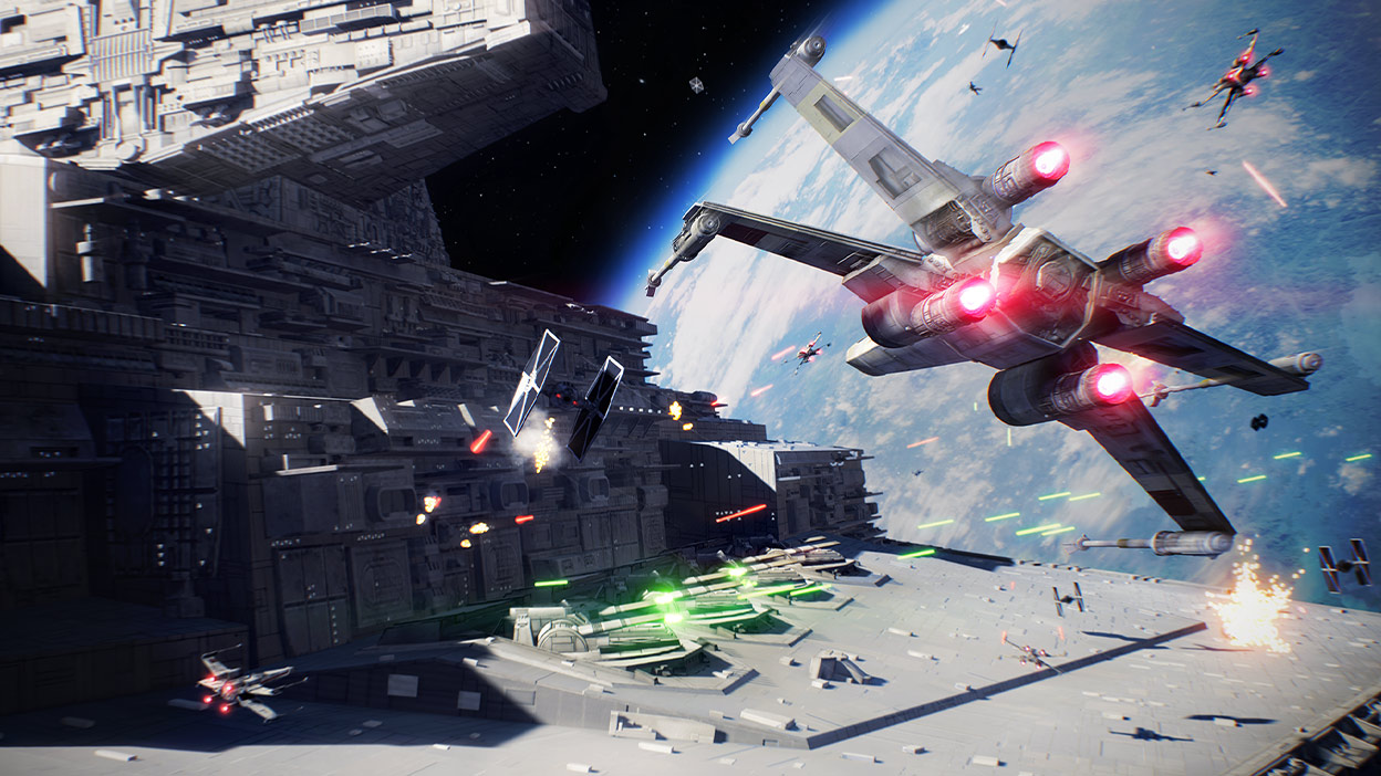 X-wing shoots at a TIE fighter in a galactic scale space battle