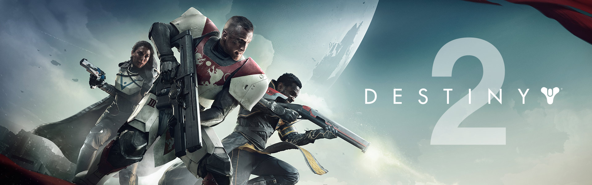 Destiny 2, three guardians stand on the tower holding guns