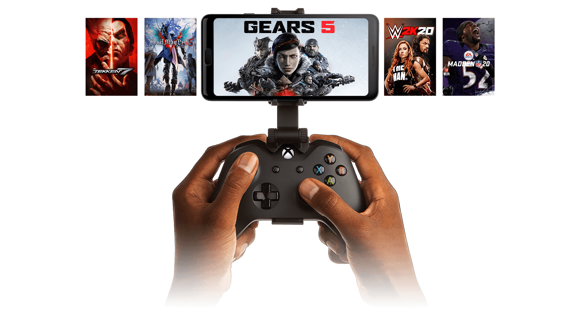 Hands holding a controller clipped to a phone playing Gears 5, with additional games pictured in the background
