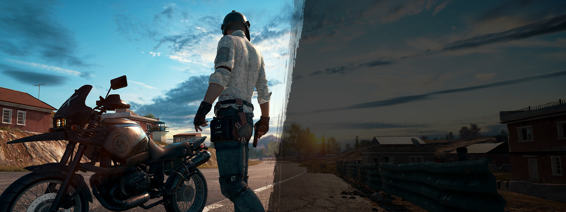 PlayerUnknown's character standing in front of motorcycle in the street with pistol