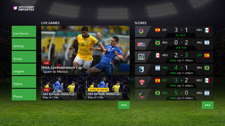 Univision Deportes Xbox One Live Streaming English Screenshot
