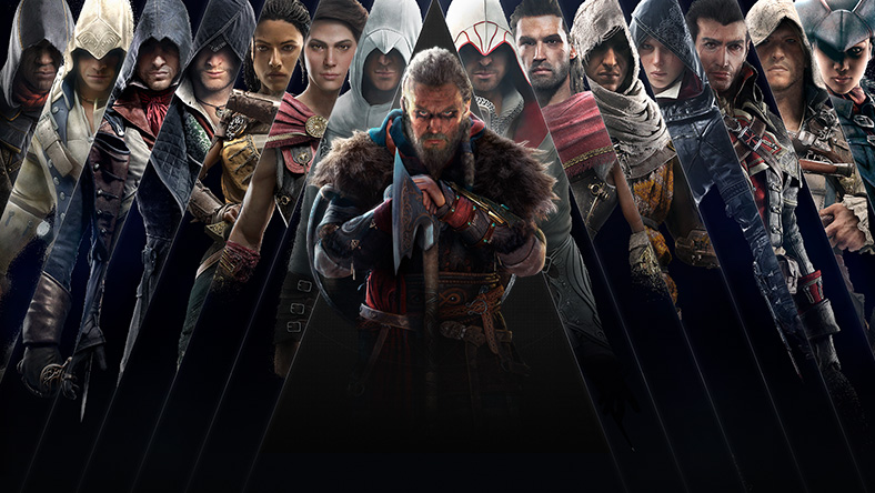 Game art from games that are part of the Assassin's Creed Franchise Sale.