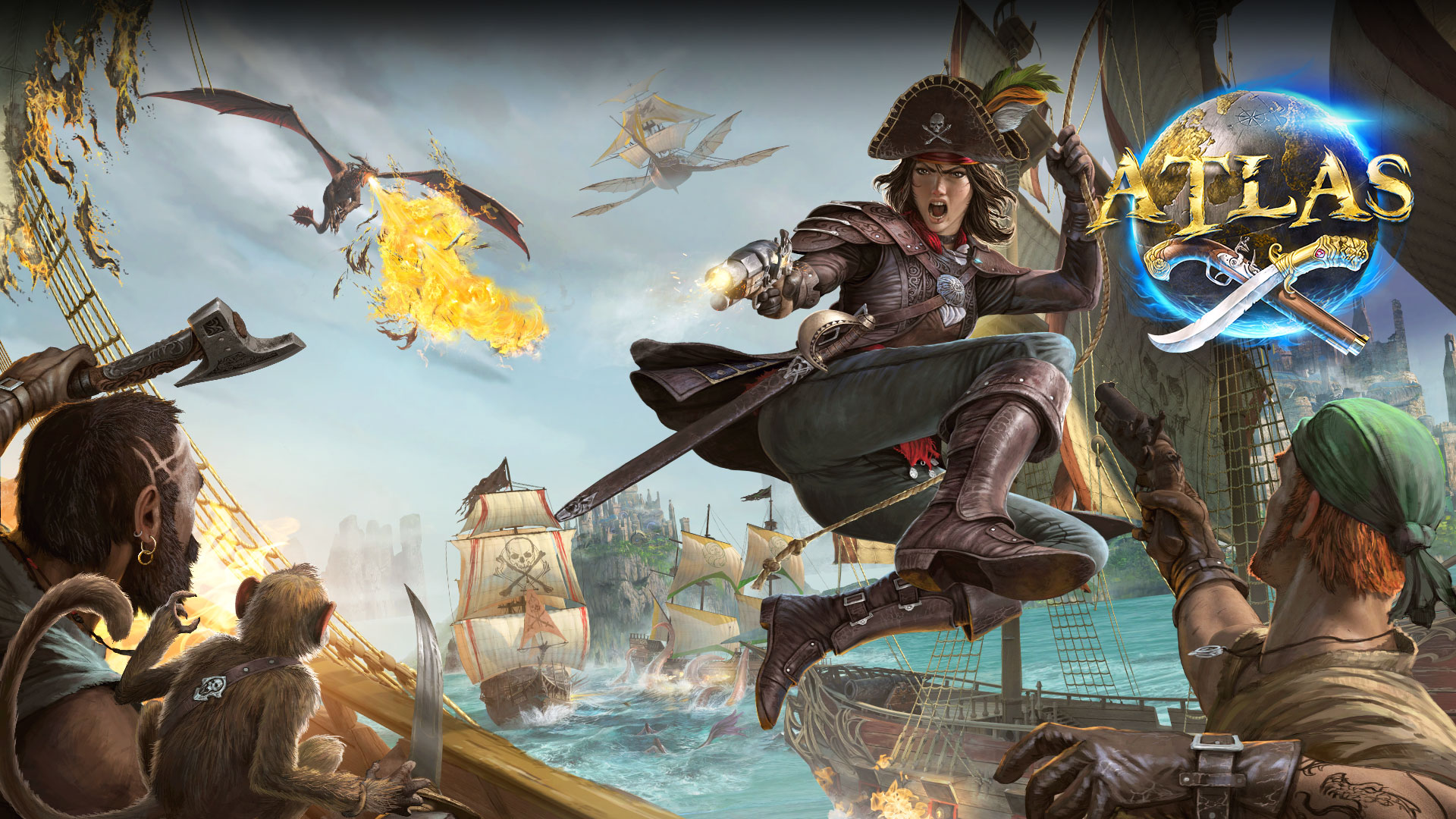 Atlas logo, female character on a rope attacking two other characters with weapons and a monkey, with a flying ship and fire breathing dragon in the background