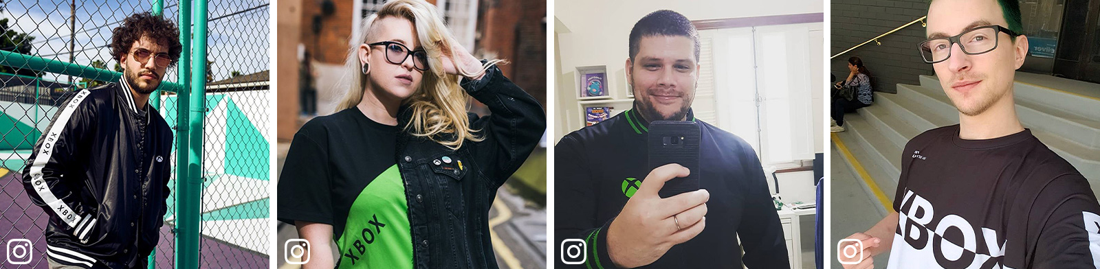 Four images of people wearing Xbox clothing