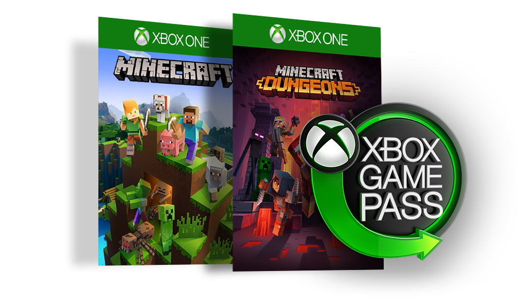 Xbox Game Pass logo next to boxshots of Minecraft and Minecraft Dungeons.