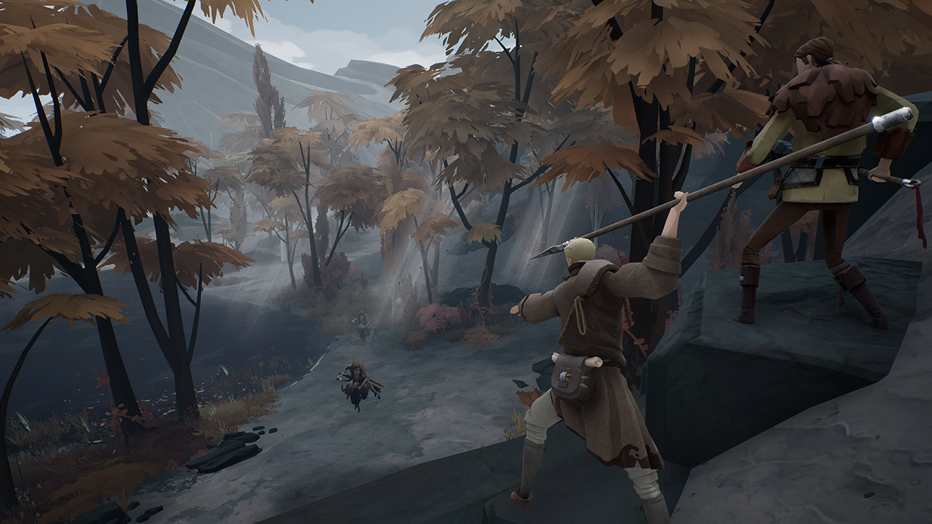 Two characters stand on a cliff readying to battle three charging enemies