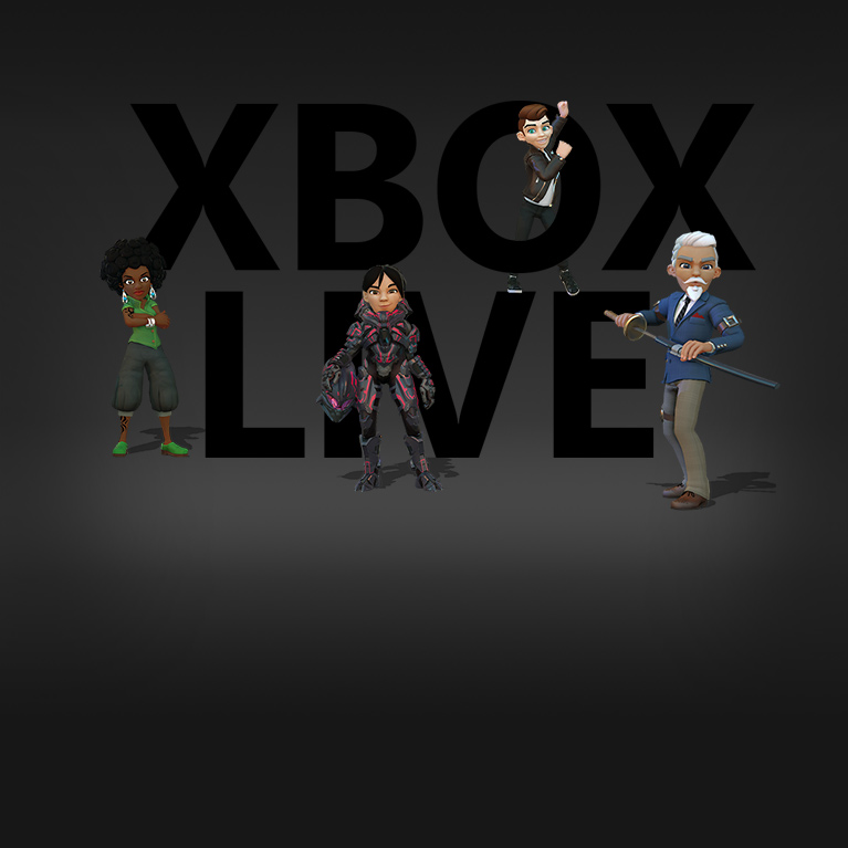 Logotipo do XBOX LIVE com avatares posando dentro e em volta das letras do logotipo