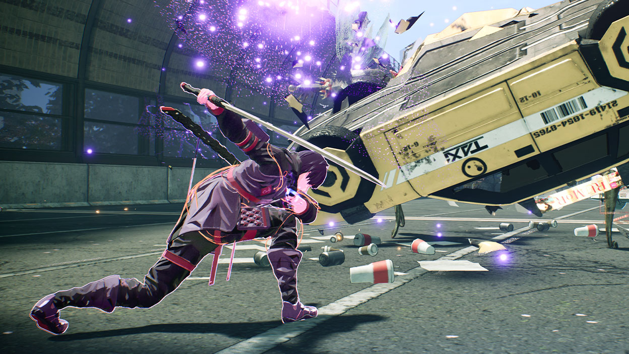 Yuito uses his psycho-kinetic powers to throw a Taxi at an enemy
