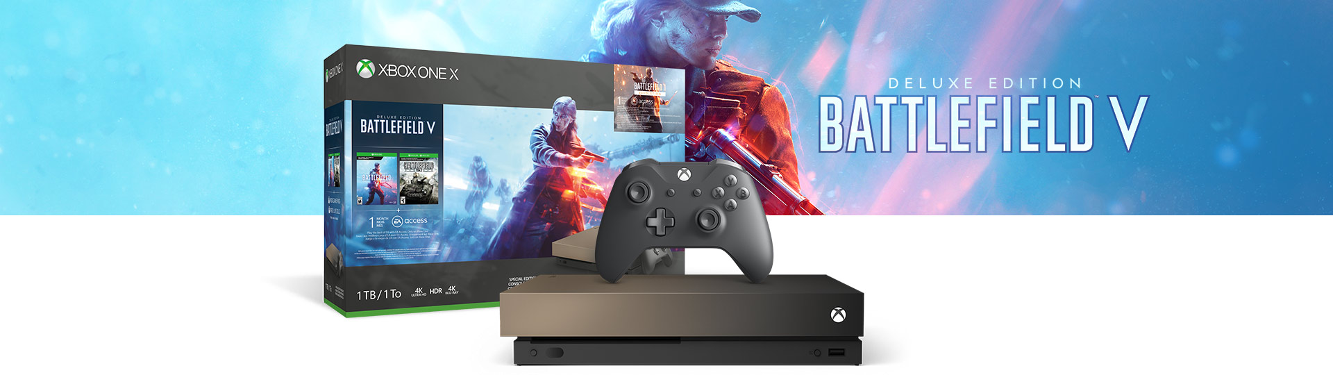 Xbox One X and Controller next to the Xbox One X Battlefield V Gold Rush Special Edition 1 terabyte product box