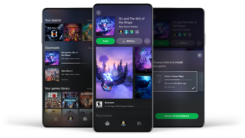Three mobile phones showing examples of the Xbox Game Pass mobile app user interface