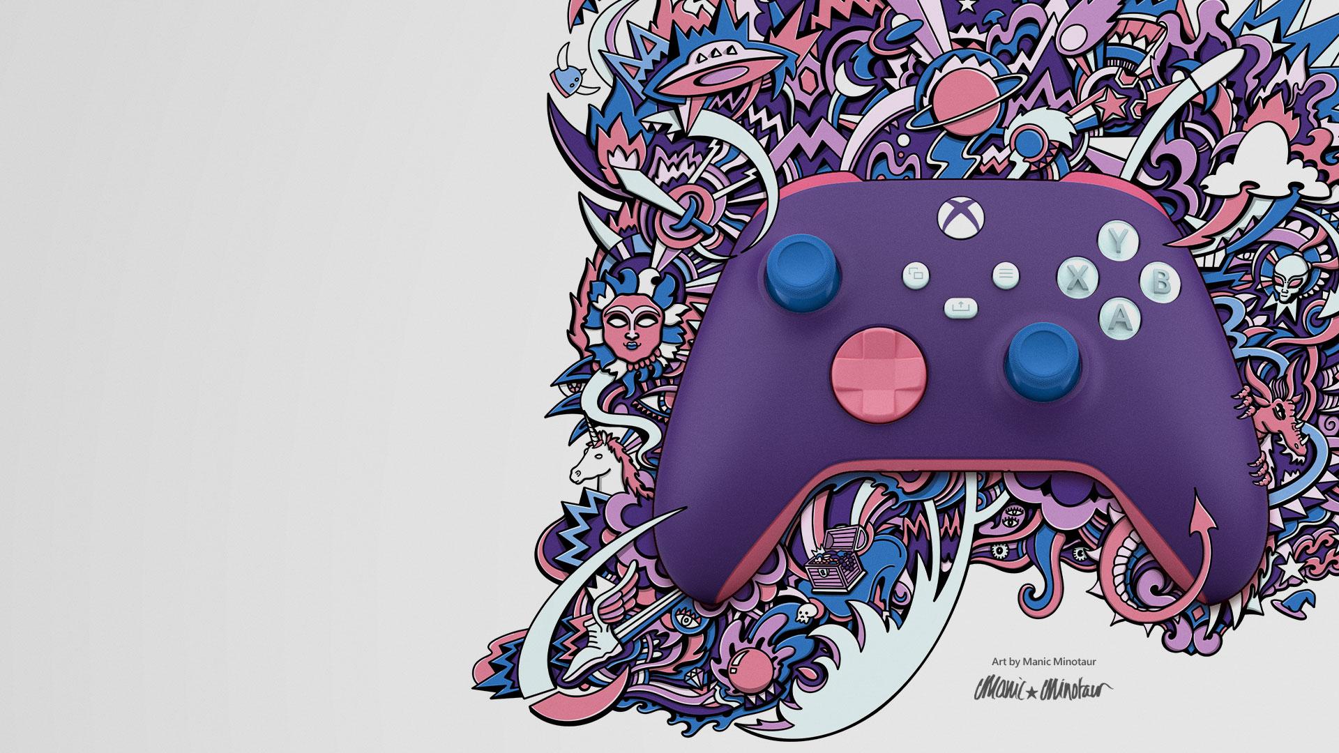 Un controller di Xbox Design Lab con motivi viola e rosa intrecciati con una grafica creata da Manic Minotaur
