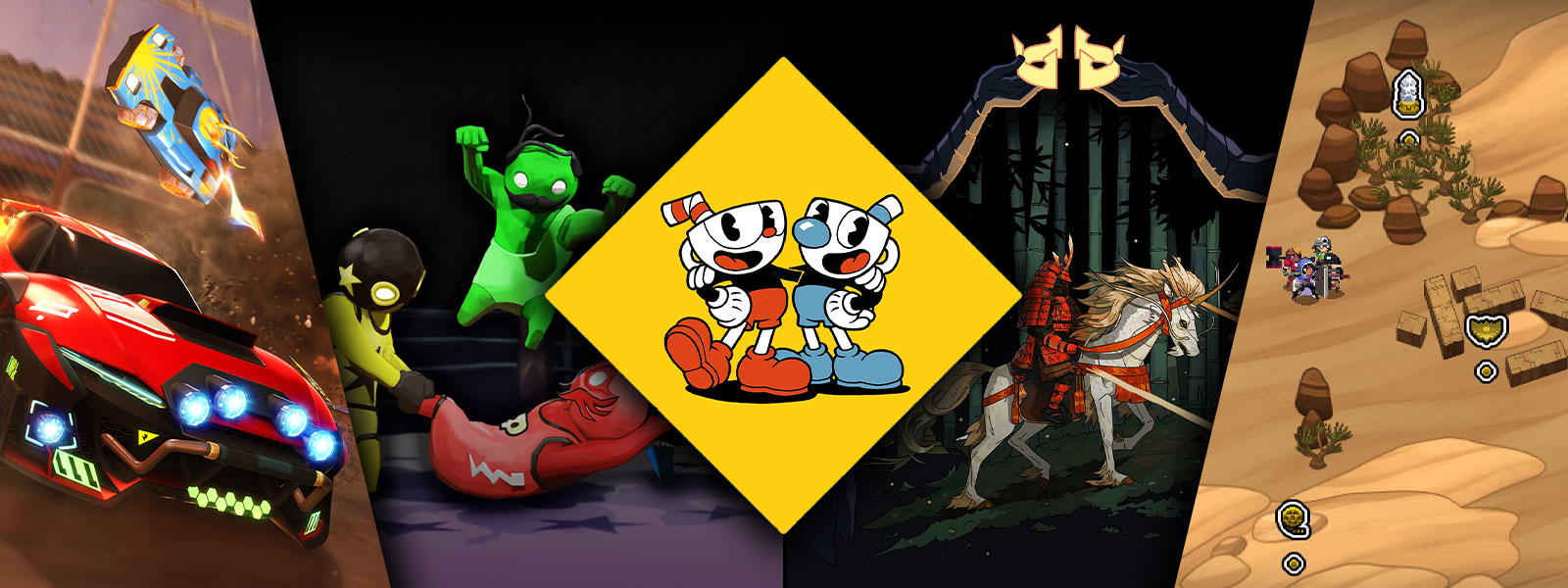 A collage of scenes and characters from Xbox One games on sale, including Cuphead, Rocket League, Gang Beasts, and Kingdom Two Crowns.