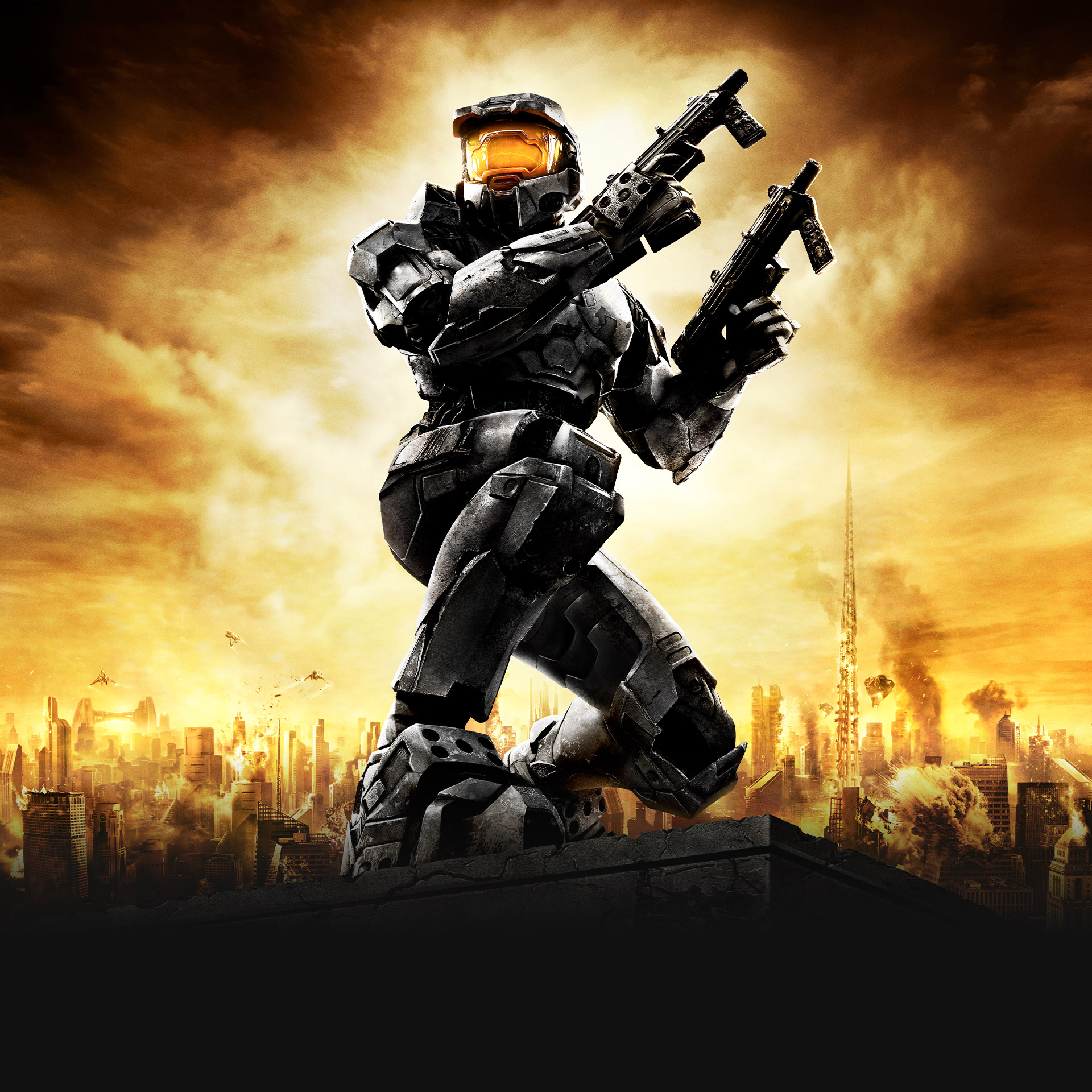 Halo 2: Anniversary, Master Chief kneeling overlooking a burning city with pistols drawn