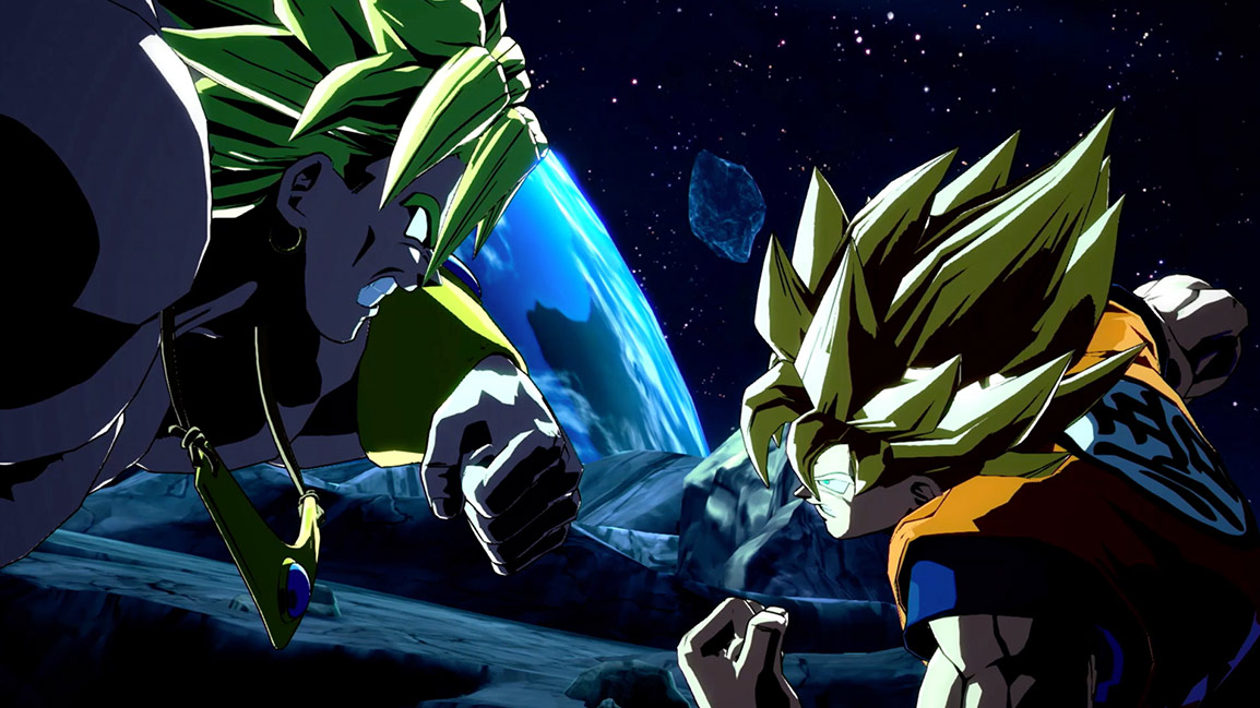 On an asteroid Broly and Goku face each other with clenched fists