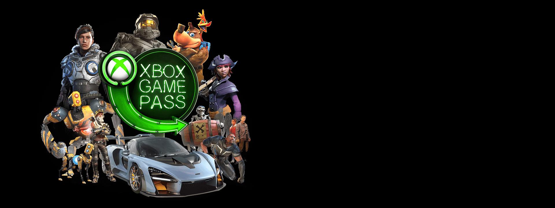 Birden fazla Microsoft karakterinin ortasında yer alan Xbox Game Pass logosu