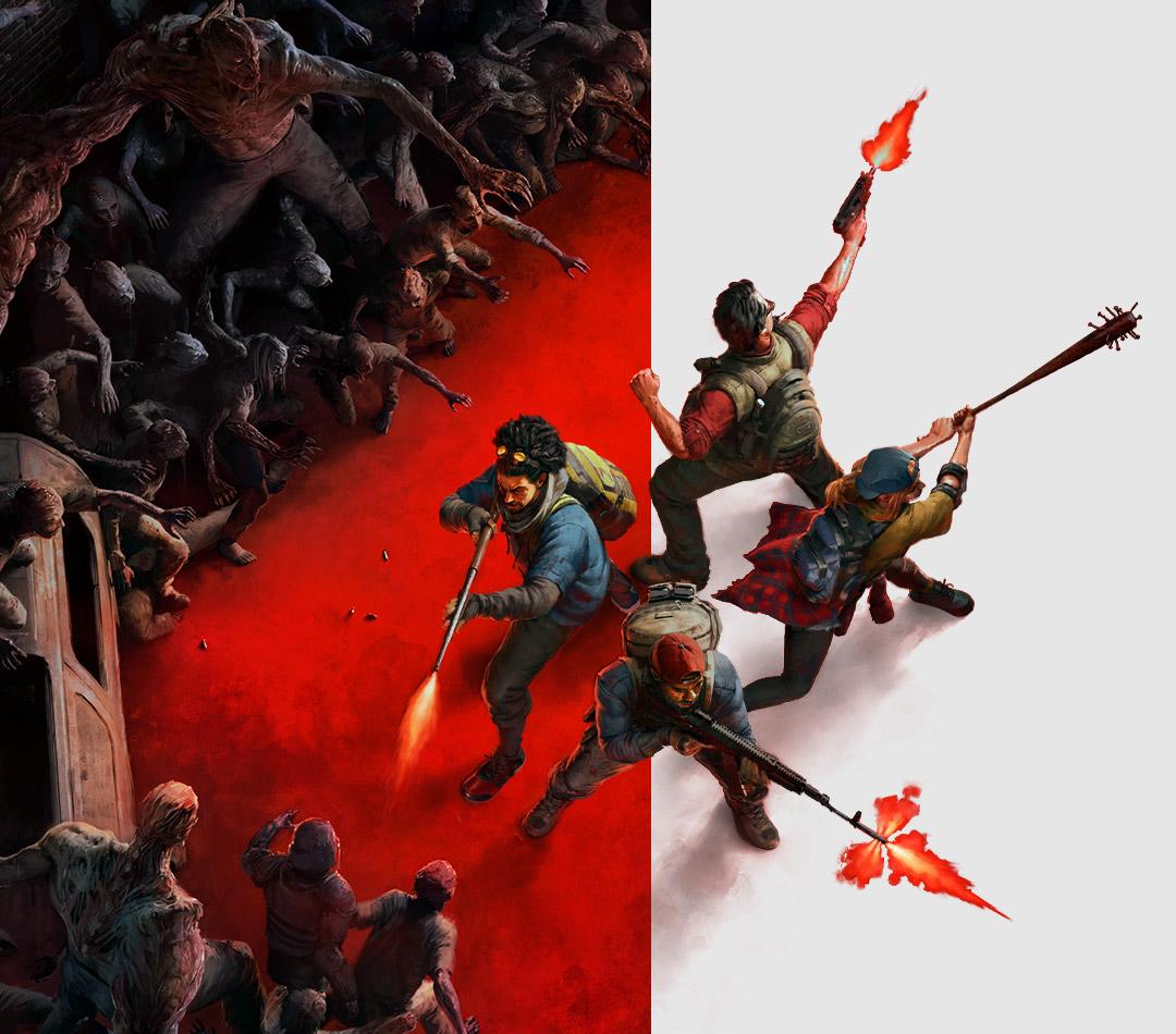 Back 4 Blood, Eine Horde Zombies in Form einer Ziffer 4 umgibt eine Gruppe von Charakteren.