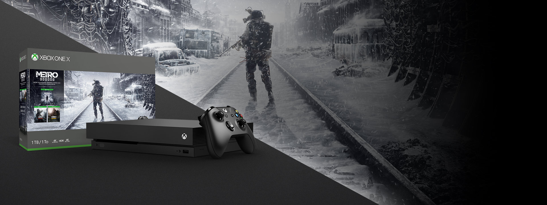 The Xbox One X Metro Saga Bundle pictured in front of a wintry scene