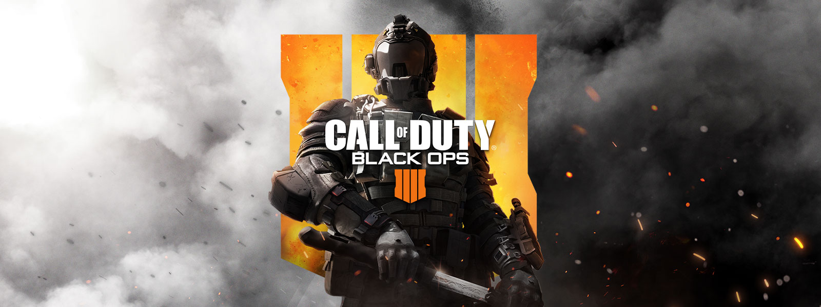 Spectre Rising Edition, Call of Duty: Black Ops 4 logo, character in full military gear with a sword in front of a smoky grey background and large Call of Duty: Black Ops 4 logo