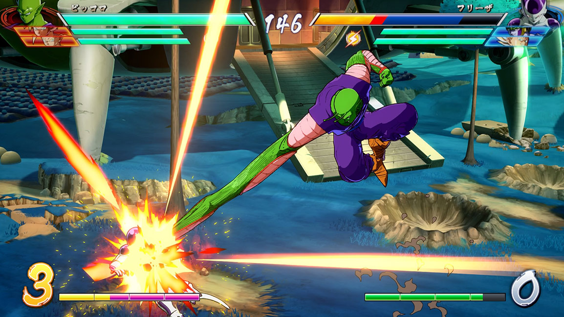 Piccolo reaches out and punches Frieza