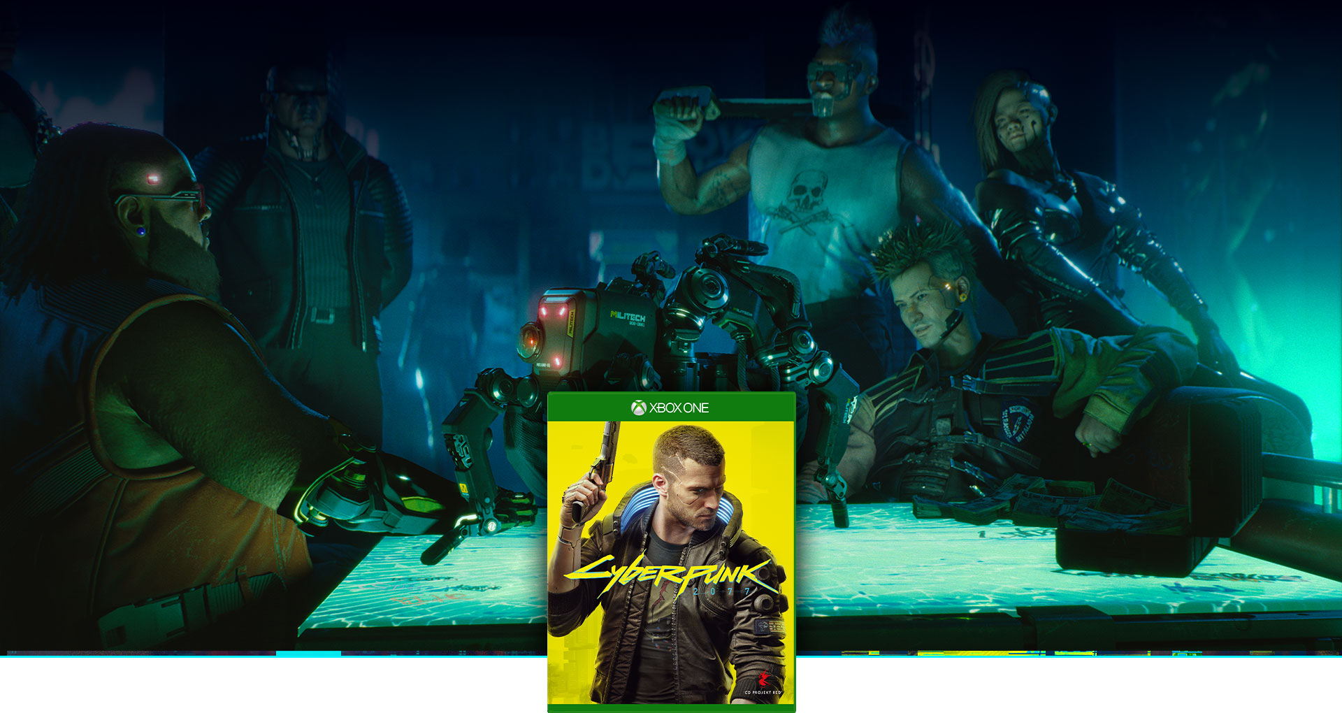 Cyberpunk 2077 boxshot, background of a group of cybernetic humans looking at a spider like drone on a table