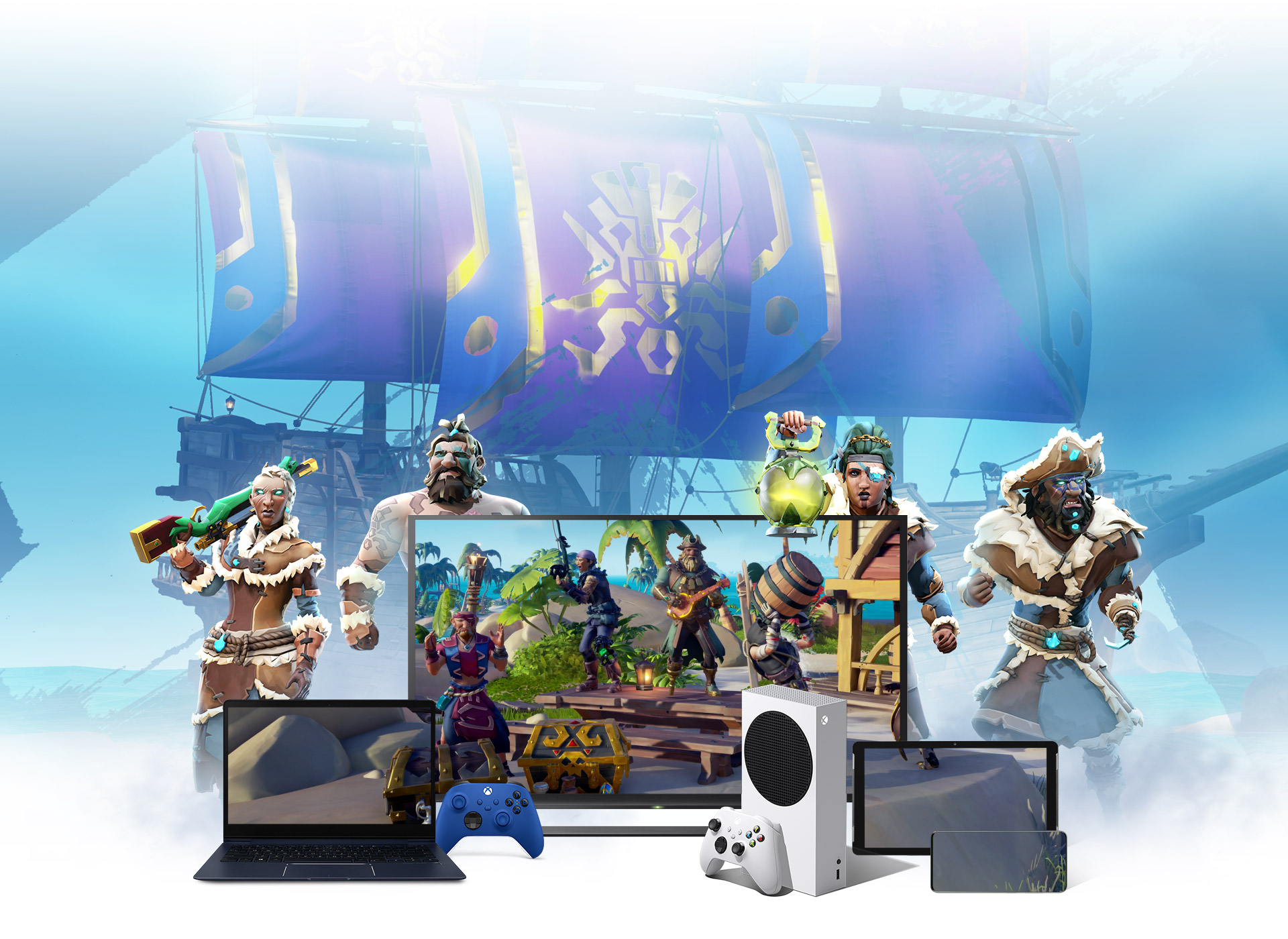Background of a pirate ship with Sea of Theives characters surrounding a laptop, TV and a mobile device.