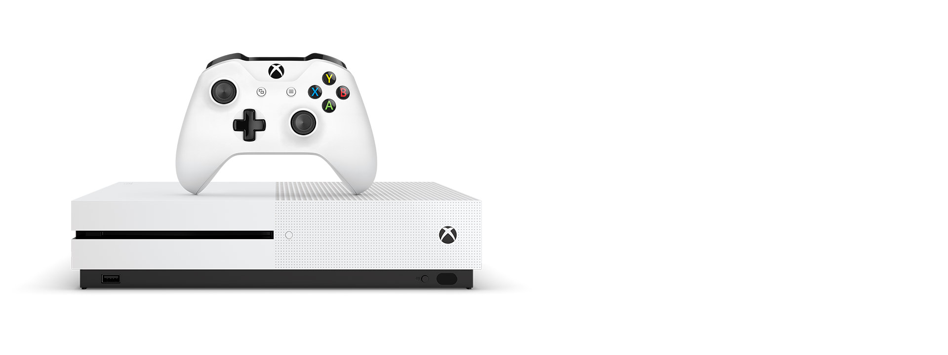 Front view of Xbox One S with White Xbox Wireless Controller