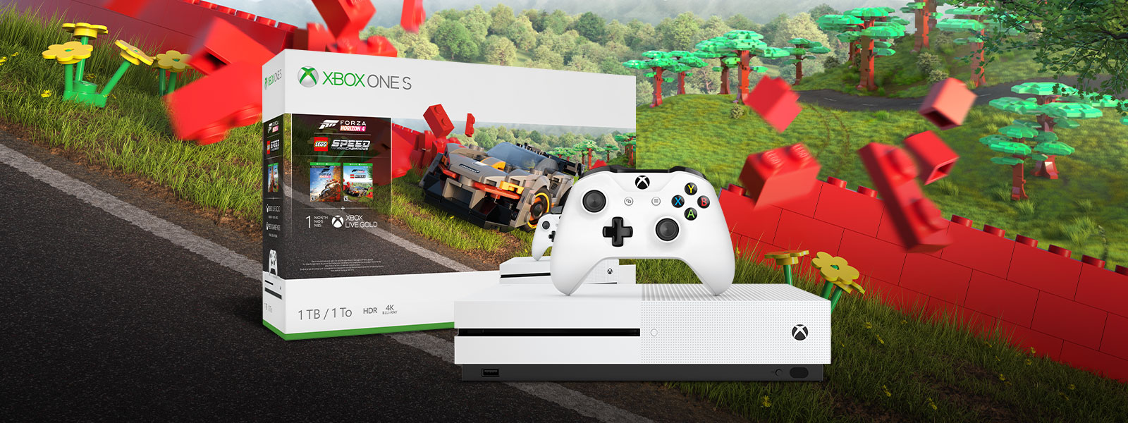 Xbox One S Forza Horizon 4 LEGO® Speed Champions bundle art in front of Forza Horizon Lego landscape