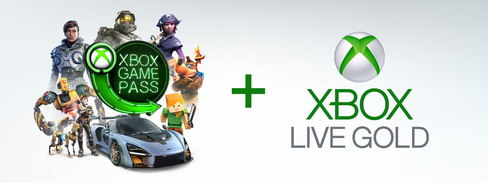 Sinal néon do Xbox Live Gold e do Xbox Game Pass rodeado por personagens do Sea of Thieves, do ReCORE, do Forza Horizon 4, do HALO, do Banjo Kazooie e um blockhead do Minecraft.