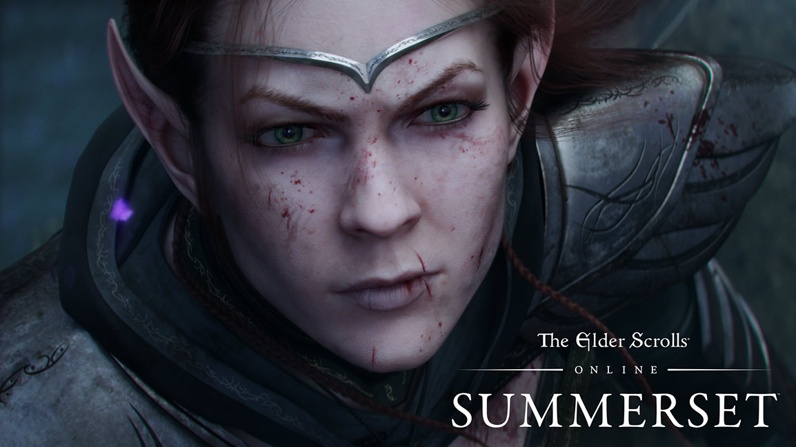 The Elder Scrolls Online Summerset, Front view of bloodied female elf's face