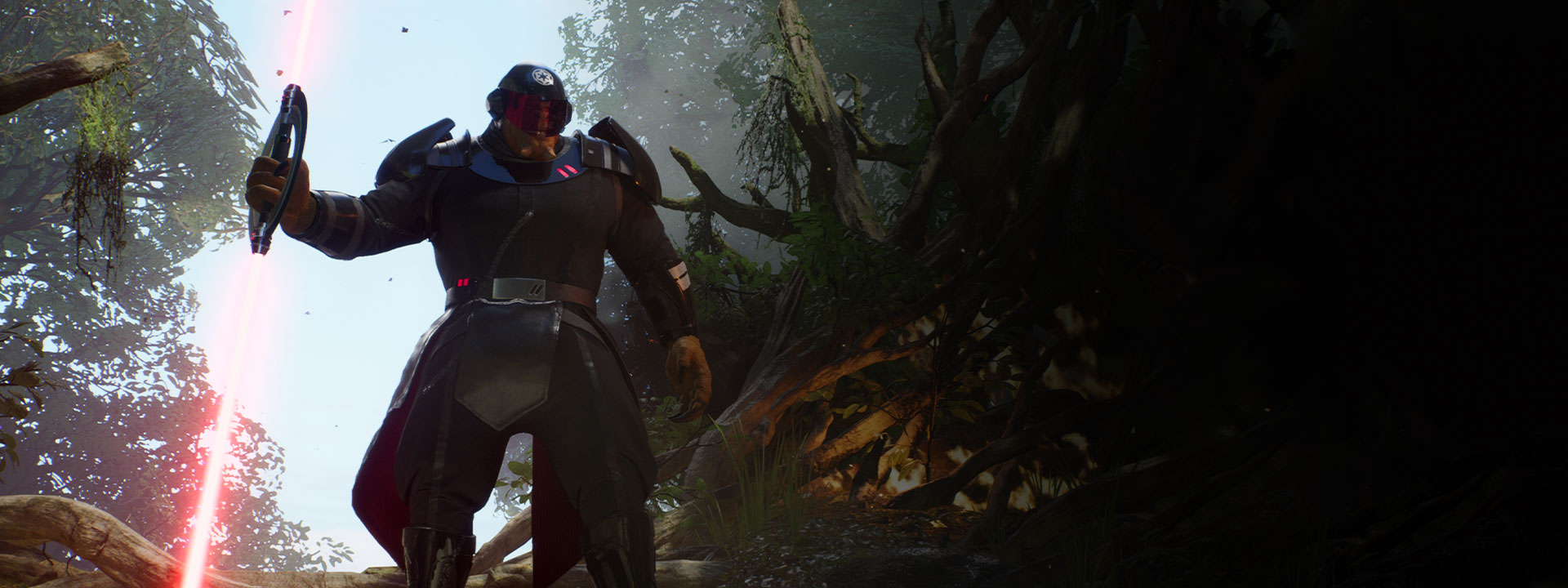 A large alien creature in Inquisitor armor holds a dual-sided lightsaber in a jungle