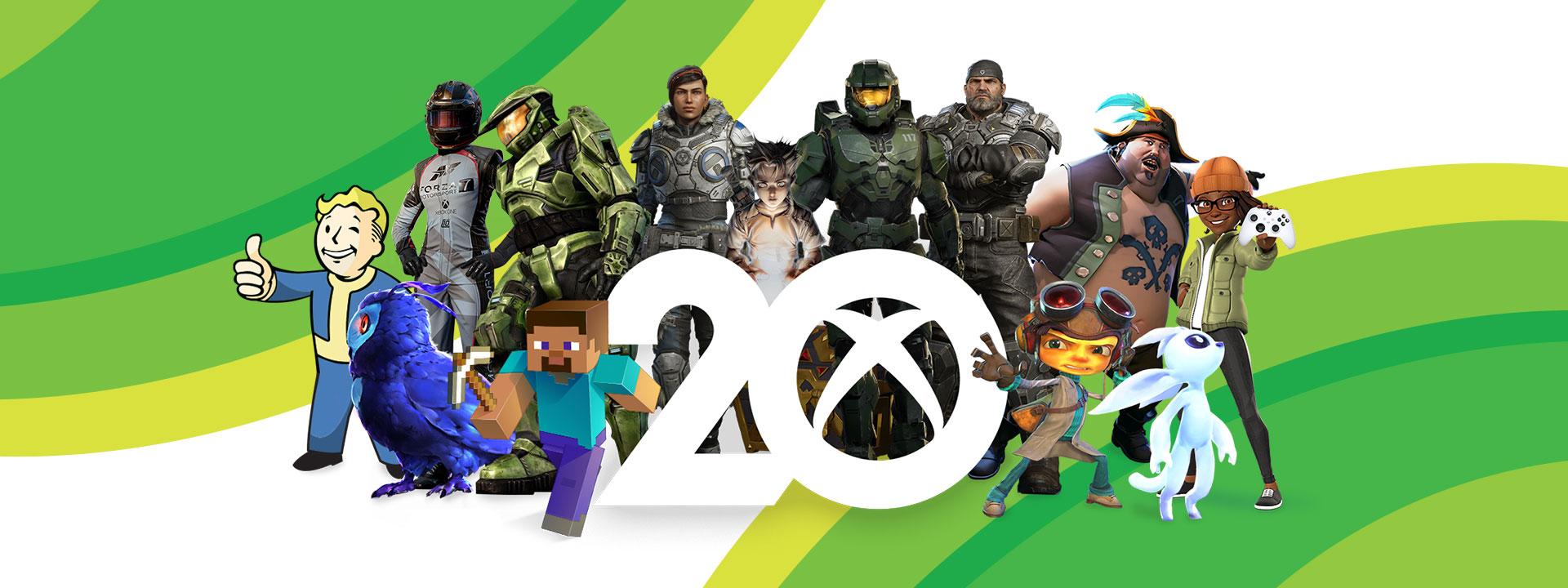 20 sayısının içinde gömülü Xbox bağlantı logosunun etrafında bulunan ikonik oyun karakterlerinden oluşan bir koleksiyon