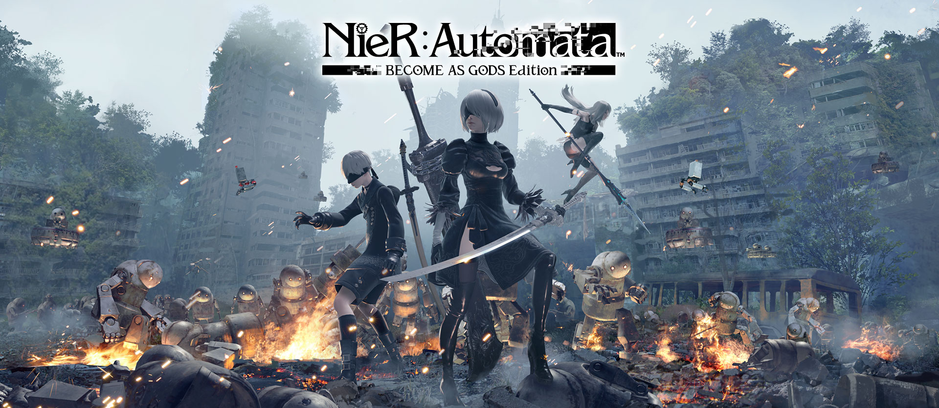 Nier Automata Become as Gods Edition, androids 2B, 9S and A2 battle machine invaders from another world