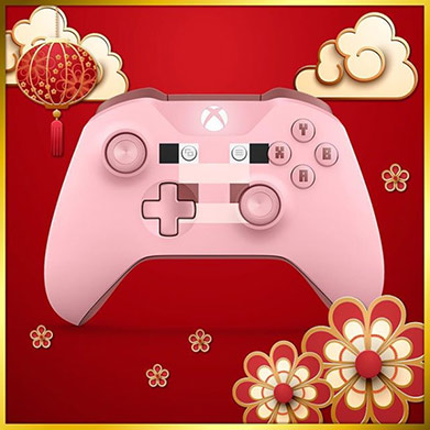 Pink controller on a red background with Chinese New Year graphics
