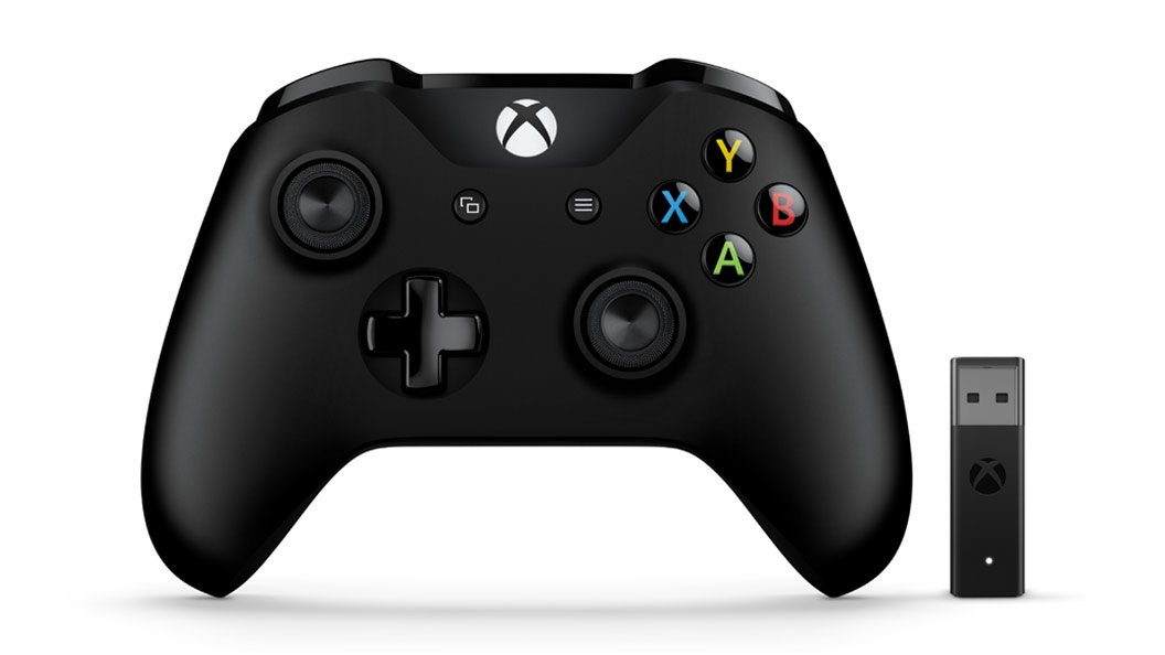 Vue avant de la manette Xbox + adaptateur Windows 10