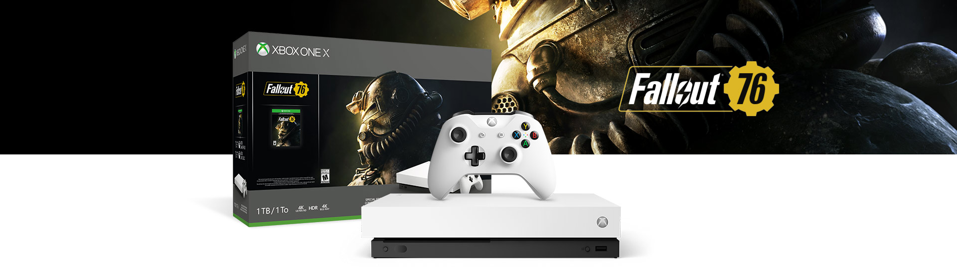 Xbox One X and Controller next to the Xbox One X Fallout 76 Special Edition 1 terabyte product box