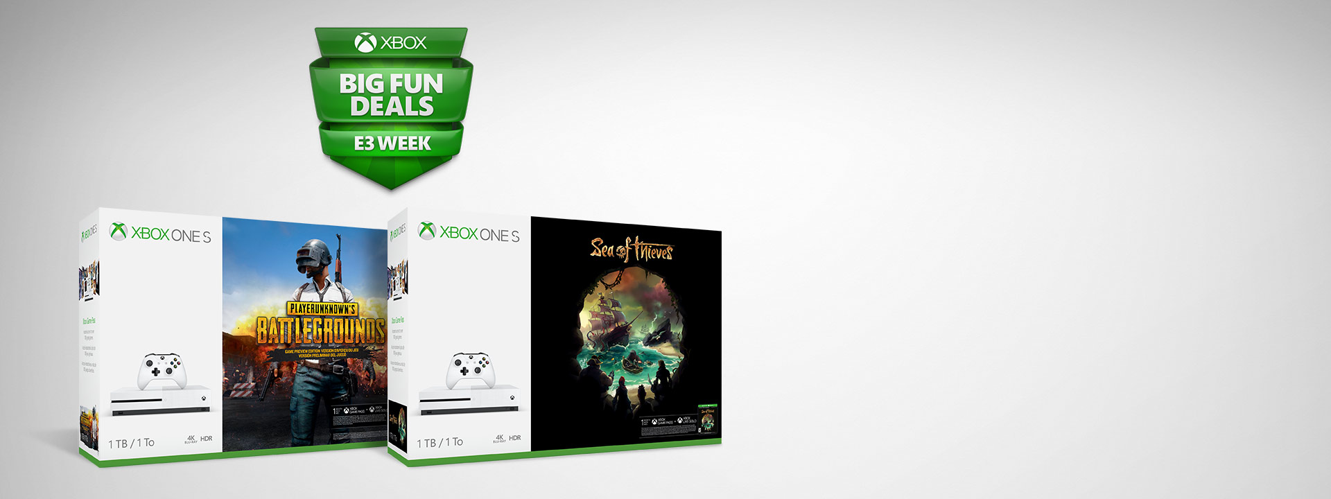 Xbox One S and Xbox One S Sea of Thieves 1 terabyte bundle box