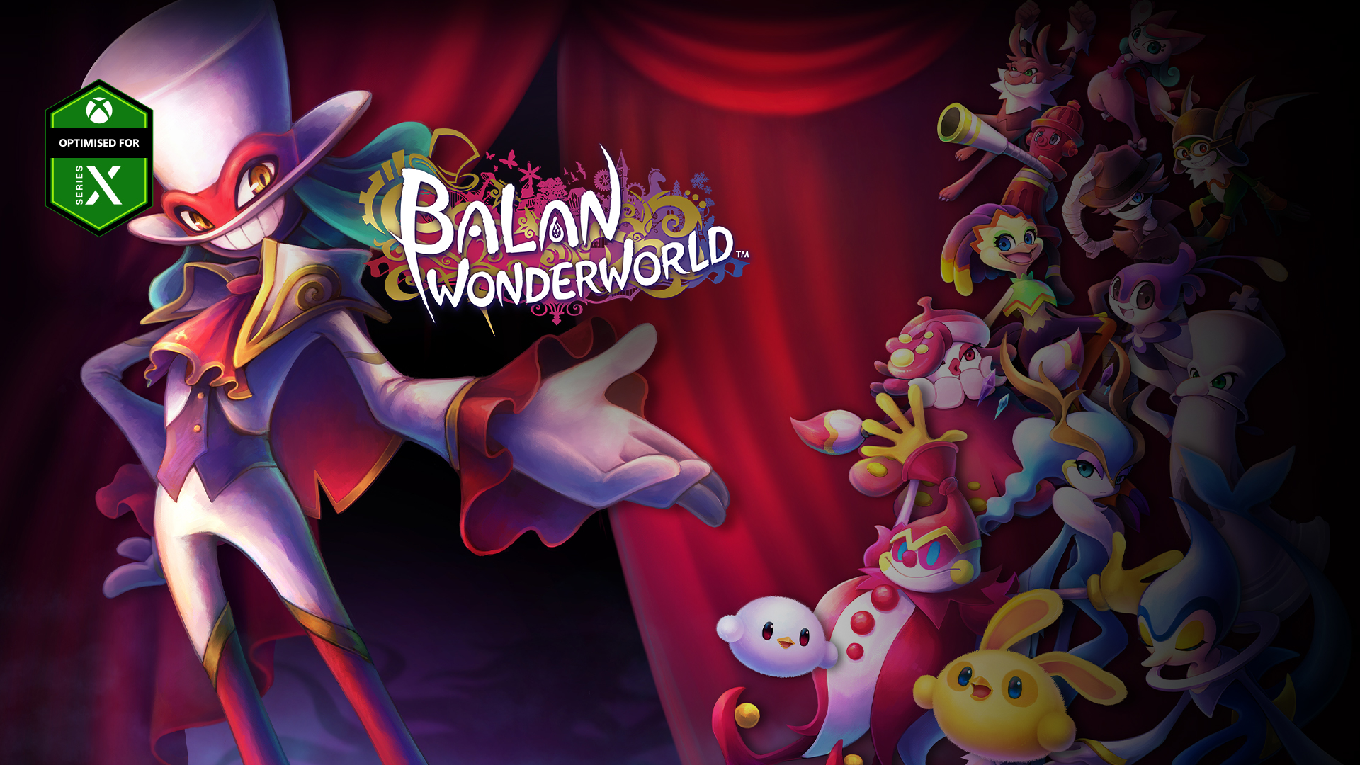 Optimised for Series X, Balan Wonderworld, A well-dressed demon gestures to a group of colourful creatures.
