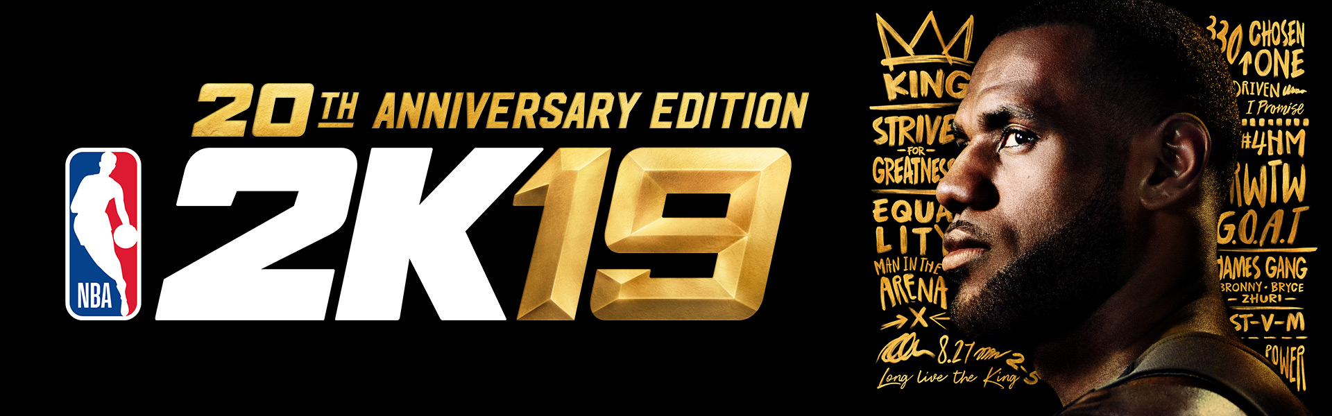 20th anniversary edition NBA 2K19, Profile view of LeBron James' face with decorative graffiti in the background