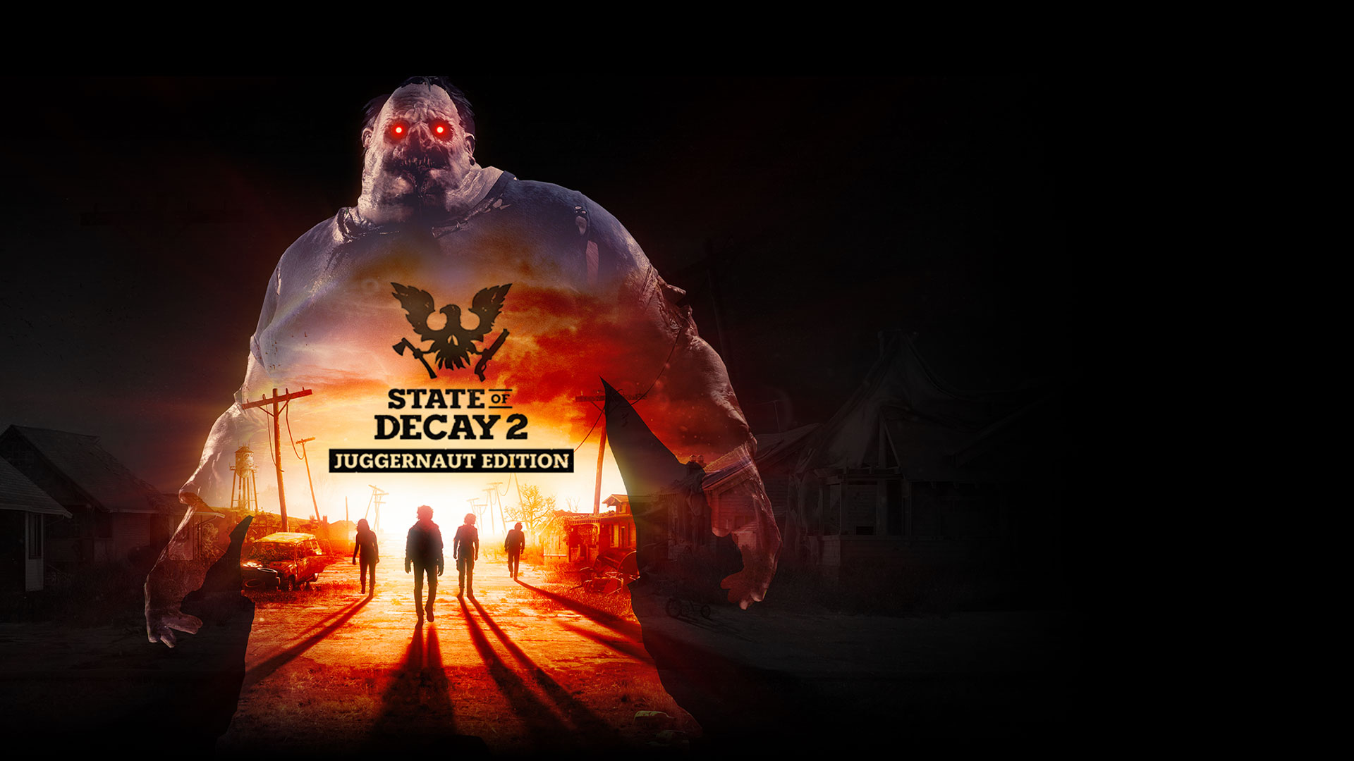 O State of Decay 2: Juggernaut Edition, silhueta do Juggernaut com zombies numa rua abandonada