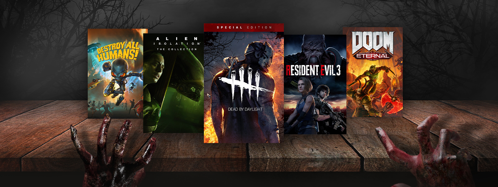 A collection of games that are part of the Shocktober Sale, including Destroy All Humans!, Resident Evil 3, and Doom Eternal.