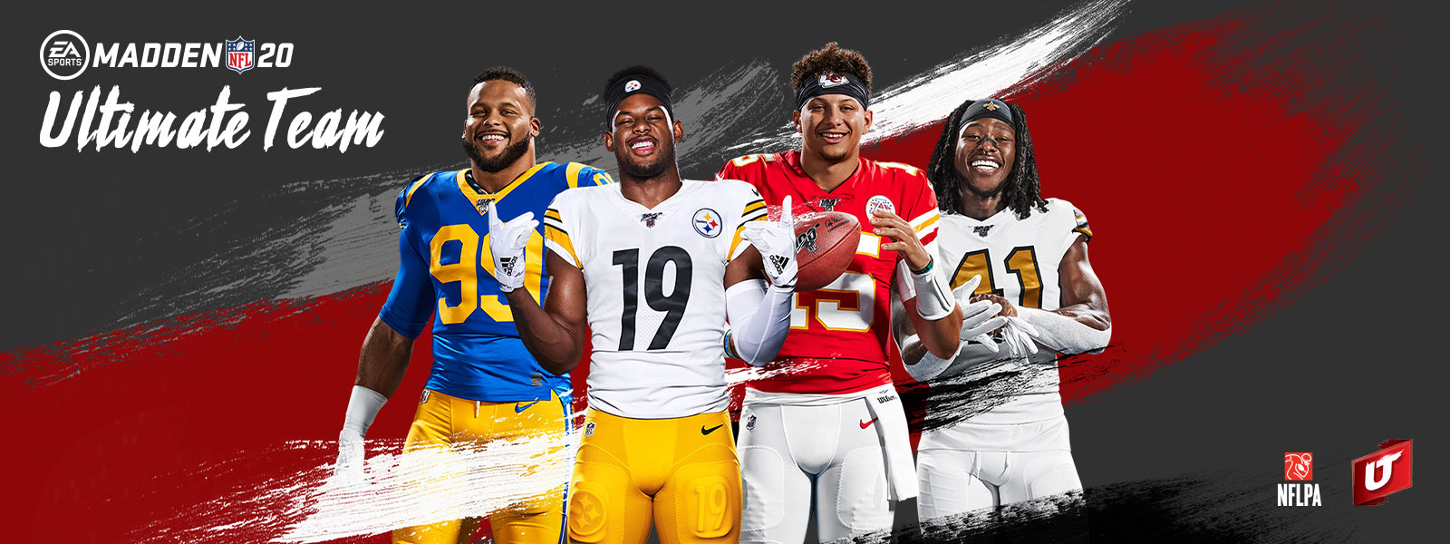EA Sports, Madden NFL 20, Ultimate Team, logotipo de Ultimate Team, logotipo de la NFLPA, cuatro jugadores de fútbol posando