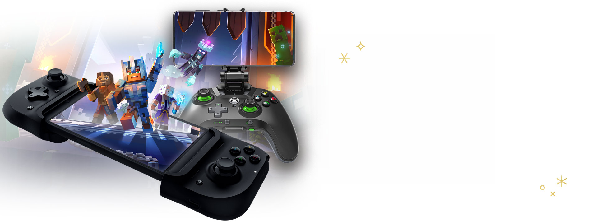 Cloud gaming accessories, including Razer Kishi and PowerA MOGA Mobile Gaming Clip for Xbox wireless controllers, with Minecraft characters imposed.
